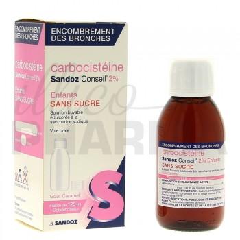 Carbocisteine enfant 2% Sandoz 125ml sans sucre