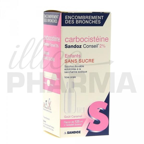 Carbocisteine enfant 2% Sandoz 125ml sans sucre-Toux