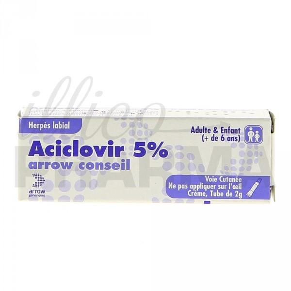 Aciclovir Arrow 5% Crème 2g, Herpès, verrues, cors, e