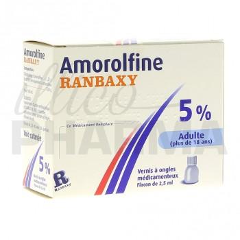 Amorolfine Ranbaxy 5% vernis 1fl/2,5ml+20 spatules