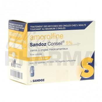 Amorolfine Sandoz 5% vernis 1fl/2,5ml+30 spatules