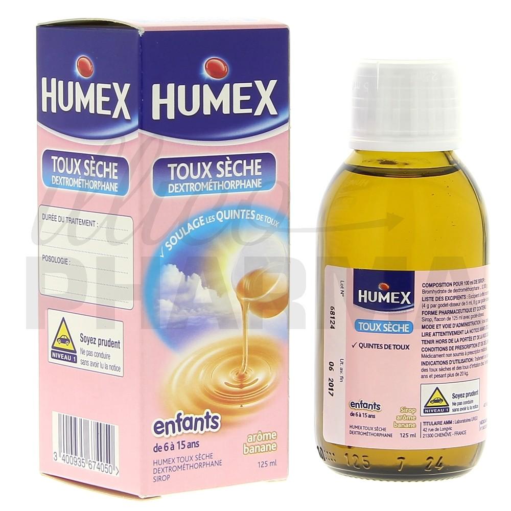 Humex Sirop dextromethorphane enfant 125ml, Toux sèche, e ...