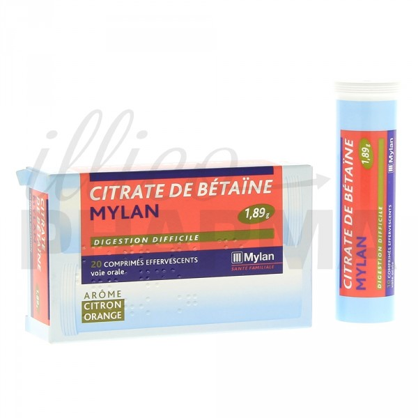 Citrate de betaïne Mylan 1,89g 20cpr effervescents  ~ Citrate De Betaine Gueule De Bois