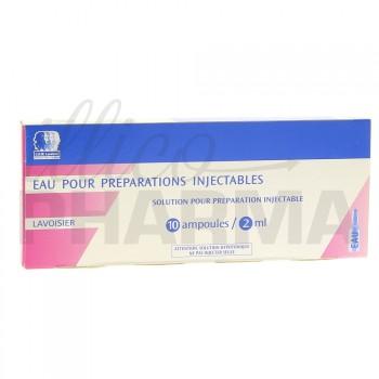 Eau pour préparations injectables Lavoisier 10Amp/2ml