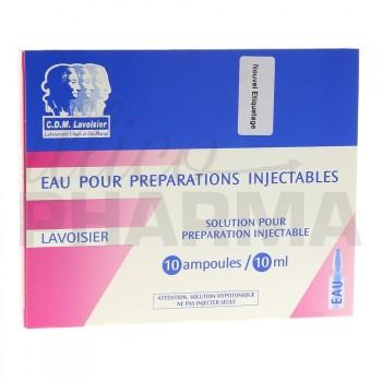 Eau pour préparations injectables Lavoisier 10Amp/10ml