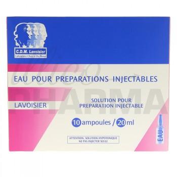 Eau pour préparations injectables Lavoisier 10Amp/20ml