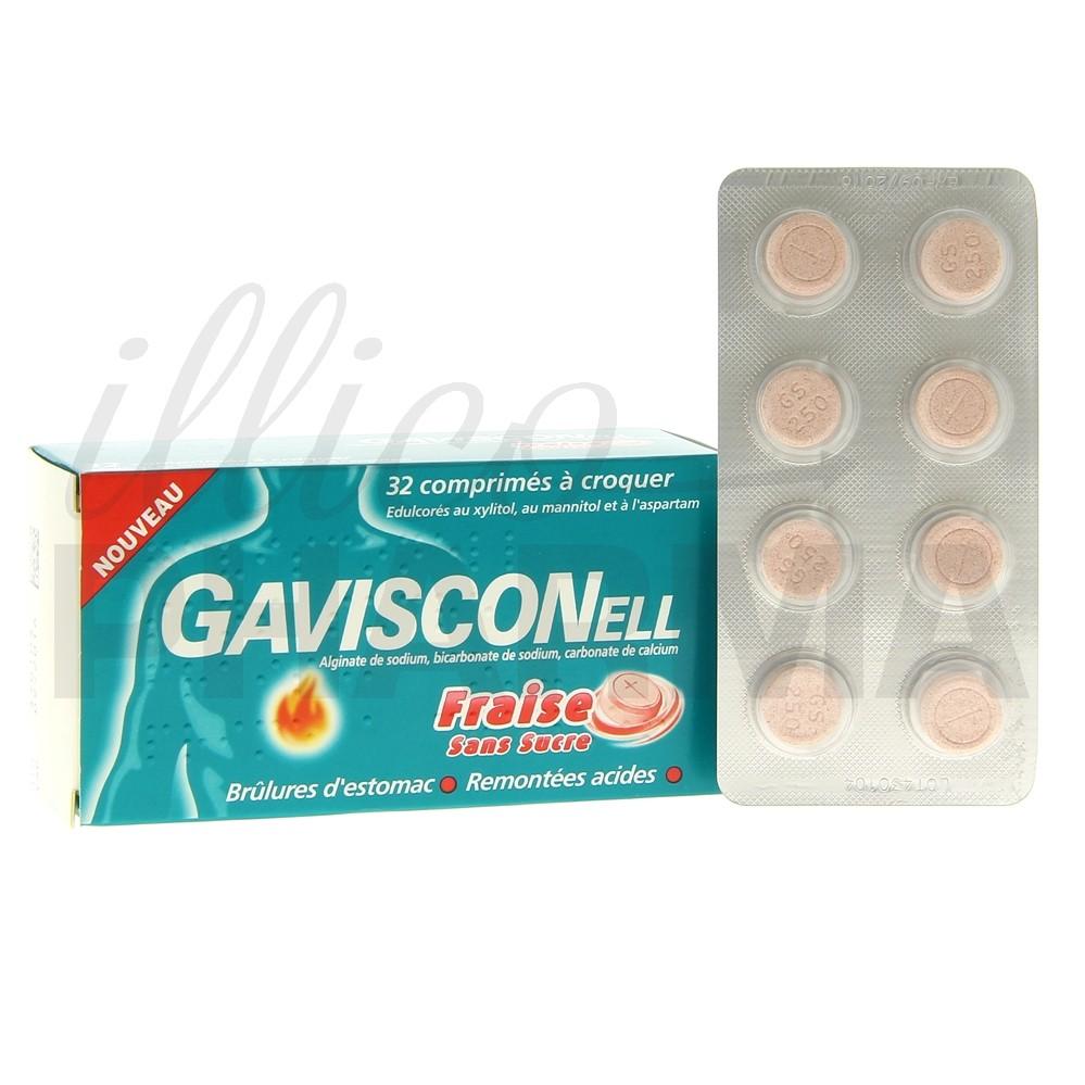 Gavisconell Fraise 32cpr, Maux d'estomac, Pharmacie en
