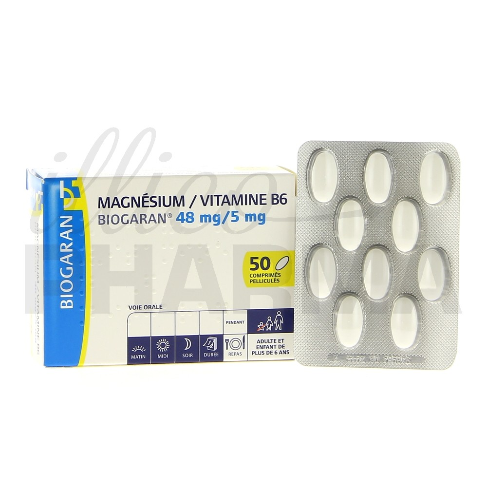 magnesium vitamine b6 biogaran 50cpr magn sium e pharmacie illicopharma. Black Bedroom Furniture Sets. Home Design Ideas