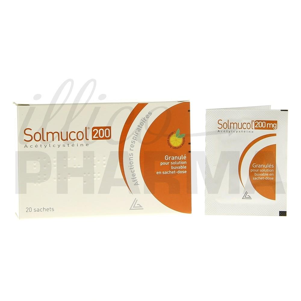 Solmucol 200mg 20sachets, Toux grasse, Pharmacie en ligne