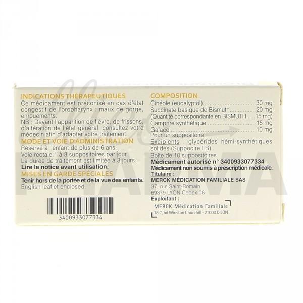 Biquinol enfant suppositoire, Maux de gorge, Pharmacie en