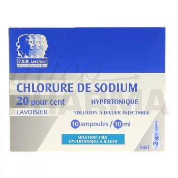Chlorure de sodium hypertonique Lavoisier 20% 10Amp/10ml