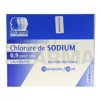 Chlorure de sodium Lavoisier 0,9% 10Amp/20ml