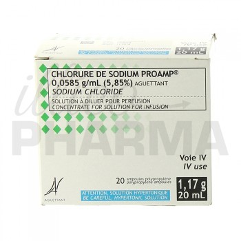 Chlorure de sodium Proamp 0,0585g/ml 20Amp/20ml