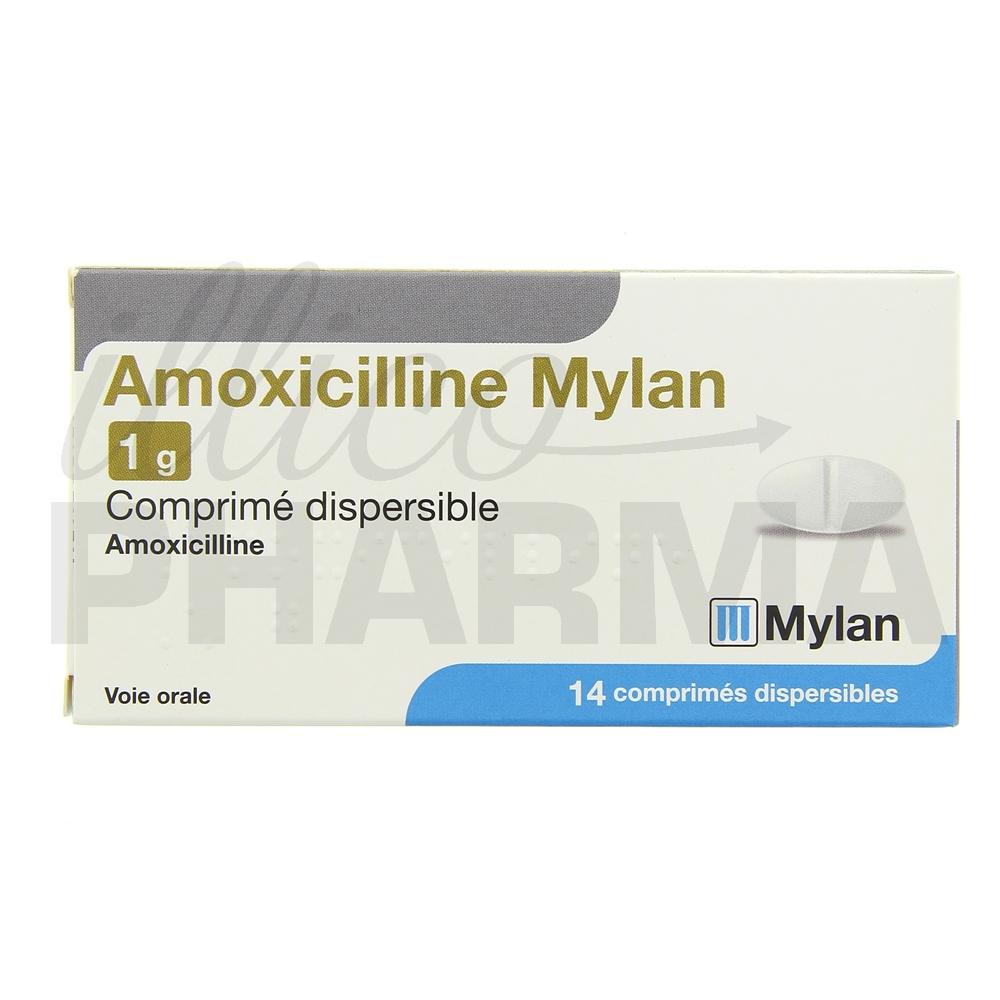 Amoxicilline Mylan 1g 14cpr - Antibiotiques systémiques