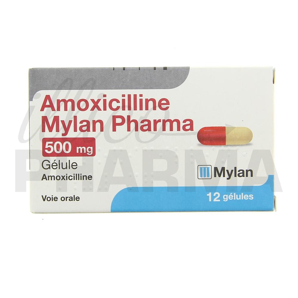 Amoxicilline Mylan 500mg 12gél - Antibiotiques systémiques