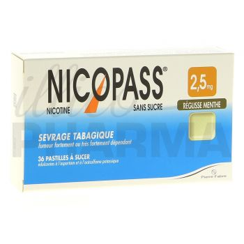 Nicopass 2,5 mg x36 Réglisse-Menthe