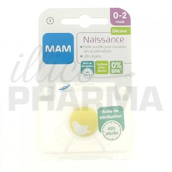 MAM Sucette Naissance 0-2 mois Silicone bte stérilisation