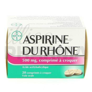 Aspirine du Rhône 500mg 20cpr à croquer