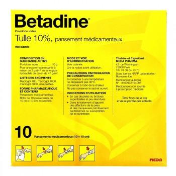 Betadine Tulle 10% Pansement 10x10cm B/10