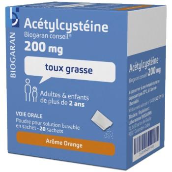 Acetylcysteine Biogaran 200mg 20 sachets