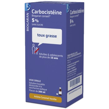Carbocisteine adulte 5% Biogaran 200ml