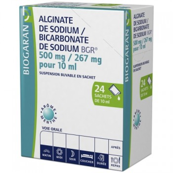 Alginate de sodium / Bicarbonate de sodium Biogaran 24sachets