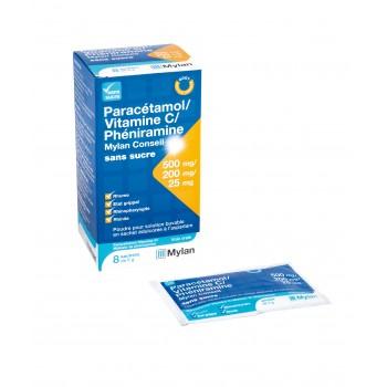Paracétamol/ Vitamine C/ Phéniramine sans sucre x8 Mylan