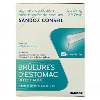 Alginate de sodium / bicarbonate de sodium Sandoz conseil - 24 sachets