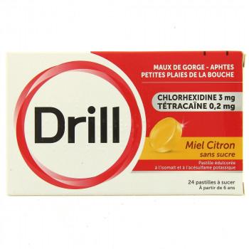 Drill x24 pastilles miel citron sans sucre
