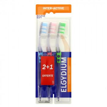Brosse à dents Inter-Active souple Elgydium x3