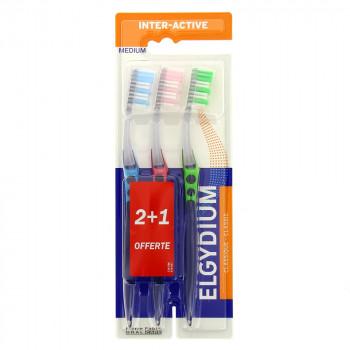 Brosse à dents Inter-Active Médium Elgydium x3