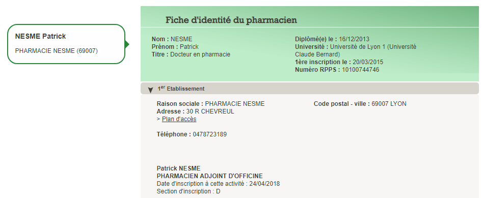 Patrick Nesme - Docteur en Pharmacie